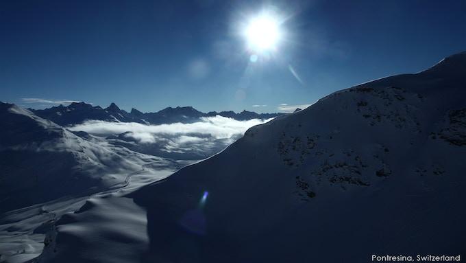 Morteratsch glacier in the Swiss Alps. Pontresina, Switzerland