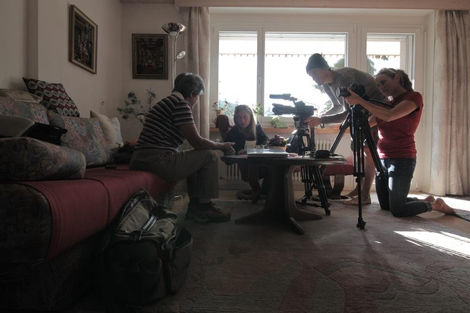 The production team interviewing Anne Marie, the mother of the local woman we are profiling in Pontresina, Switzerland.