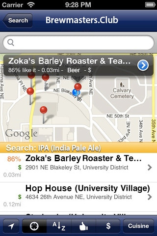Example functionality... (where to find your beer/meal)