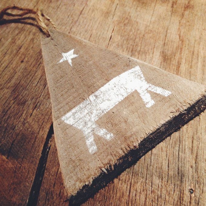I'll make you a Christmas ornament from reclaimed wood, a little paint and some twine for a gift of $25.