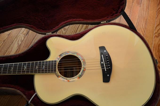 I'm rewarding the biggest giver with my Winter themed Yamaha acoustic electric guitar (model CPX15N).