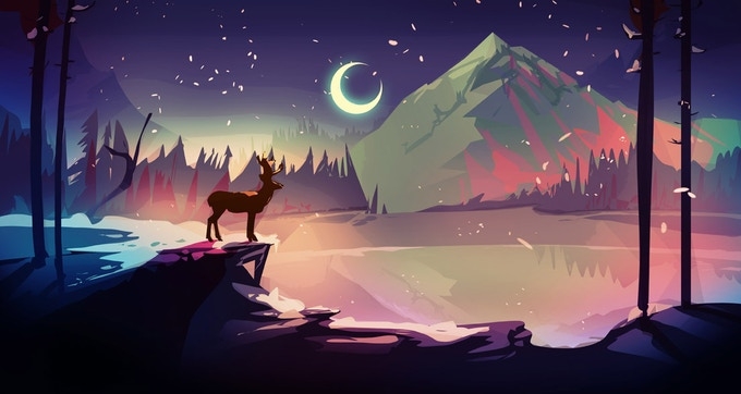 Crescent Moon loves Deer