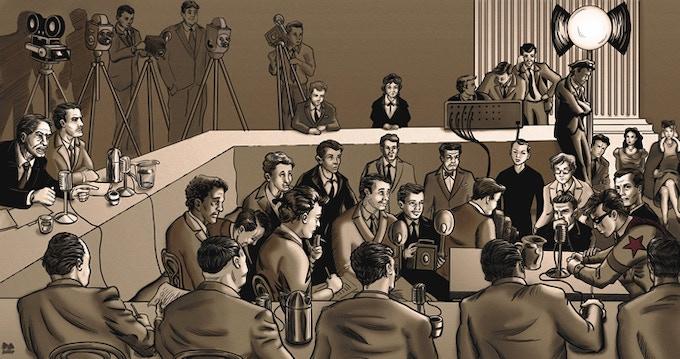 The original Super-National testifies before the HUAC, Washington D.C., 1947.
