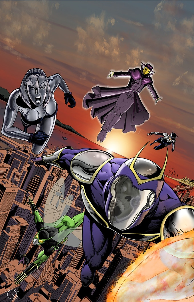 The Sentinels of Society race to battle Xombehemoth over Sentinel City. It would be the team's final battle.