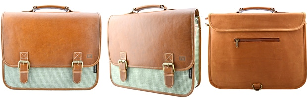 The Carryall: Tobacco Leather, Checkered Green; $175