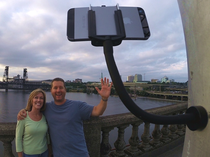 Snap the GripSnap to a light pole for a quick selfie!