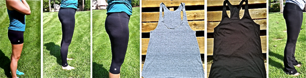 1 pair of Fitness Shorts, 1 pair of Fitness Yoga Pants, 1 pair of Fitness Cropped Yoga Pants, 1 Tri-Blend Racerback Tank, 1 Rib Racerback Tank, and 1 pair of Bootcut Yoga Pants