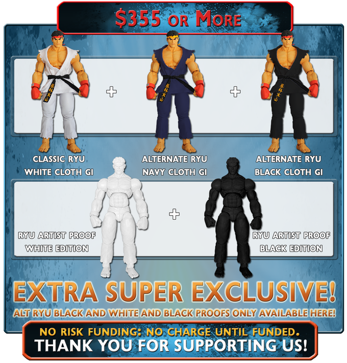 Receive ALL of the Ryu Variants, White and Navy Cloth Gi plus the Black Cloth Gi and the White and Black Artist Proof Editions, available only through this Kickstarter!