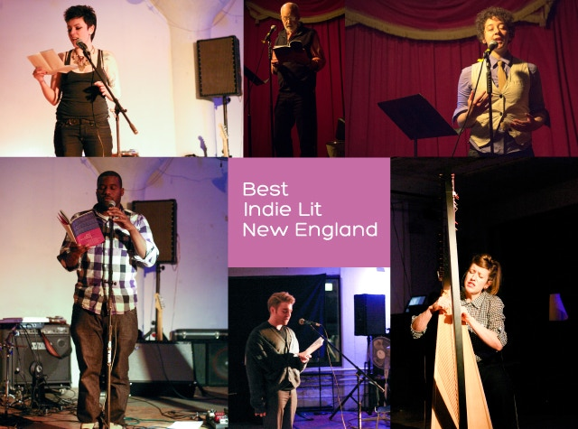Launch parties for BILiNE have featured live music and readings from contributors. From top left: Emily O'Neill, Thomas R. Moore, Jade Sylvan, McKendy Fils-Aime, Sean Patrick Mulroy, and Audrey Harrer.