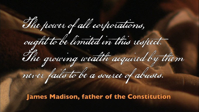 Prophetic James Madison quote from title sequence of Citizens United, The Movie