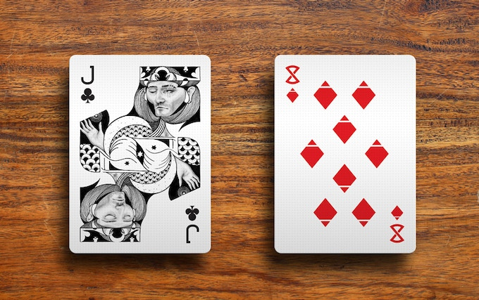 jack of clubs and eight of diamonds