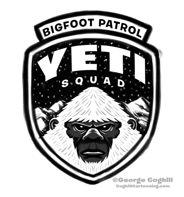 """""""Yeti Squad"""" one of 9 more """"Bigfoot Patrol"""" patch designs that need to also be made into actual items. Let's make that happen!"""