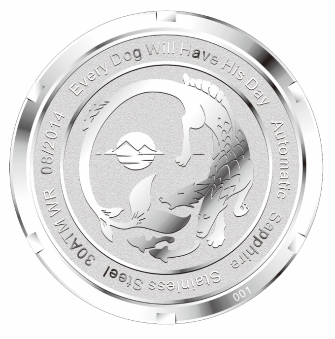 Production caseback will be engraved with this design, not the L&H logo, as in the prototypes