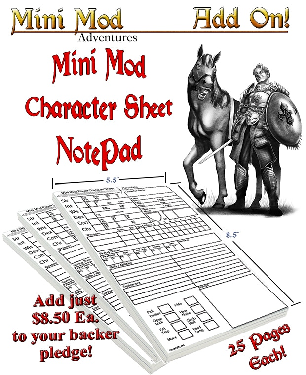 Add just $8.50 ea to your backer level for 25 pg Character Sheets