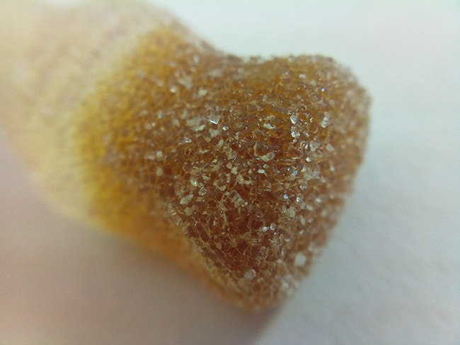 Sugar crystals on a Fizzy Cola Bottle.