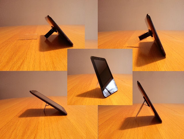 "3D Printed Prototype of Tablet Extender shown with 7.0"" screen size Tablet in Various Positions"