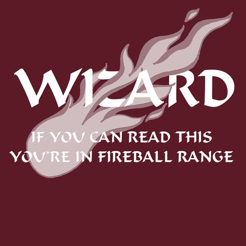 Wizard: If you can read this, you're in fireball range.  (Athletic Maroon T-shirt)