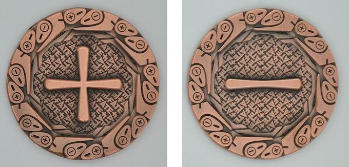 Plus/Minus bonus coin sample in Antique Copper