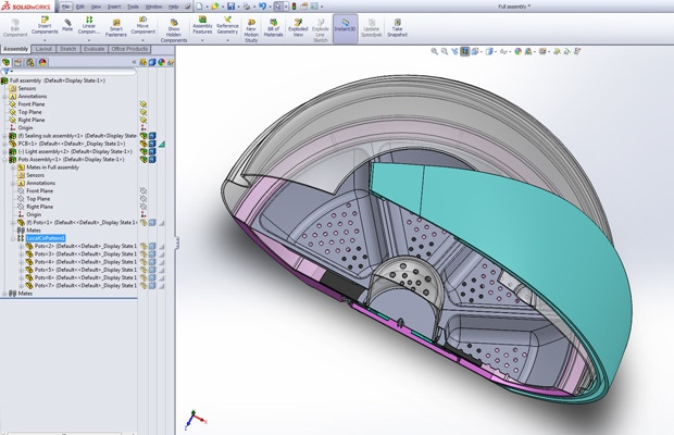 Cross section of the CAD assembly