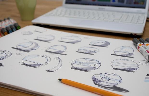 Early thumbnail sketches exploring form