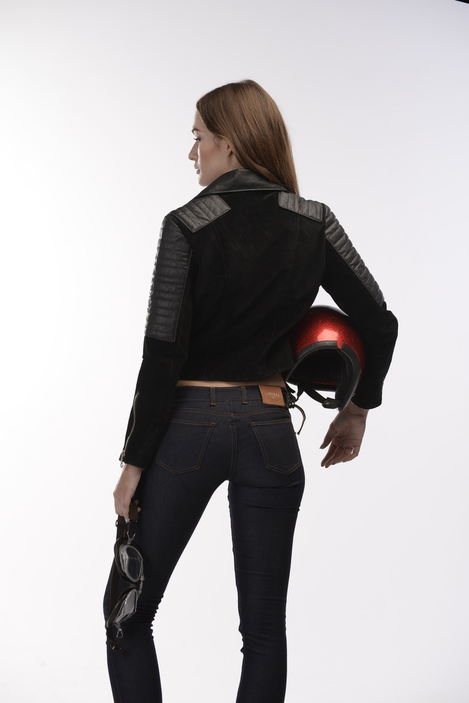 The Lawless Citizen: Women's Premium Black Leather & Suede Biker Jacket