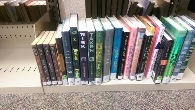 On library shelves