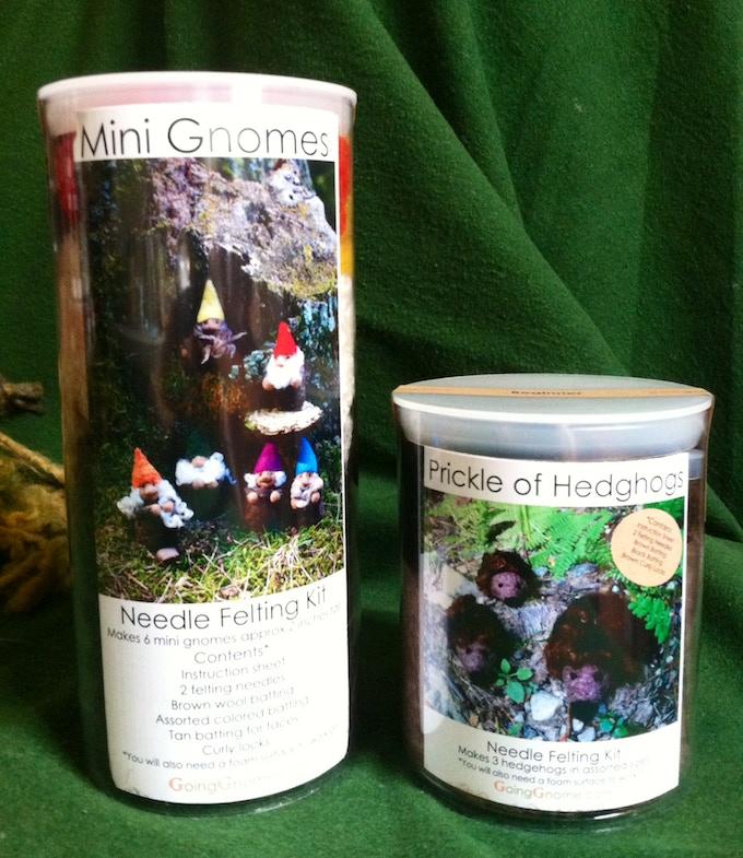 Mini Gnome and Prickle of Hedgehog felting kits