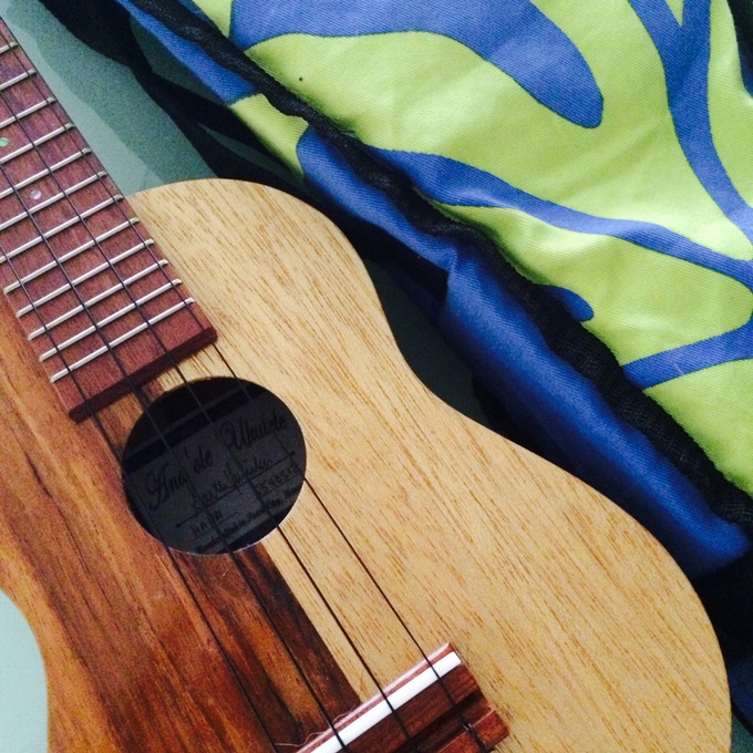 Hapa ukulele.  This lovely ukulele is half brown and half blonde. In Hawaii, my ethnicity is called Hapa; Half samoan (brown) and half caucasian (white). Thanks parents!