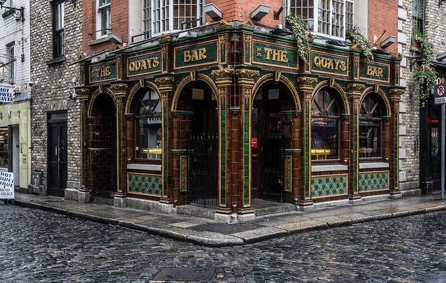 The famous Quays Bar in Dublin, Ireland.  Likely to be a stop on the journey.