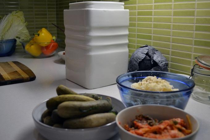 Fermentium with pickles, sauerkraut and kimchi