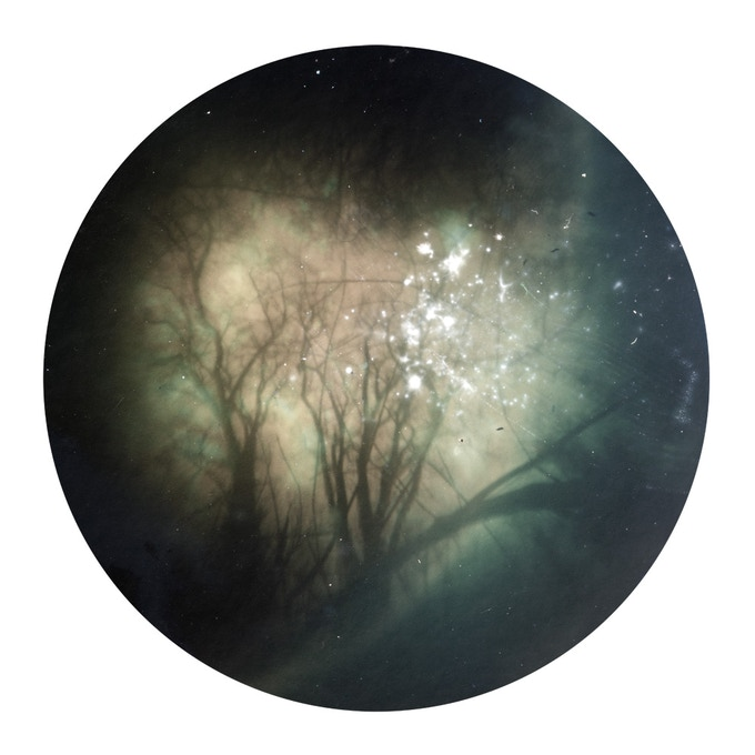 William Arnold. Tin-can Firmament: North 50° 37 22″, West 04° 64′ 34″ .15 inches diameter on 17 inch square sheet. Print 3 of 6 - Archival pigment inkjet on Hahnemeule photo rag 308gsm - signed on reverse