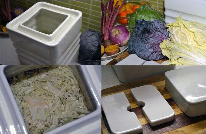 Set up your Fermentium: Chop Vegetables, fill the Fermentium, add: salt, water, the weights and replace the lid