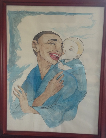 "18"" x 24"" Framed Watercolor of Flesh of White's Rehema and Kwasi - Painted by Series Artist Amanda Rachels!"