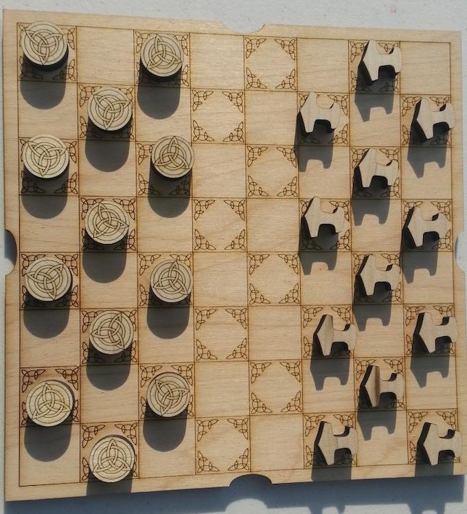 Trivaram theme Chess/Checker board and pieces