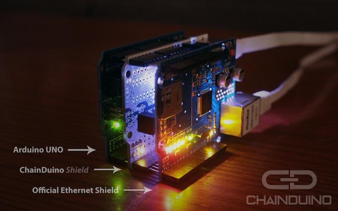ChainDuino Shield powering an Arduino UNO and Ethernet Shield