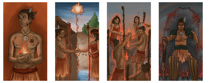 Ace, 2, 5 and King of Fire; Art by Jordan Cameron, © Red Island Games