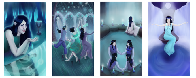 Ace, 3, 10 and Queen of Water, Art by Chelsea Ferguson © Red Island Games