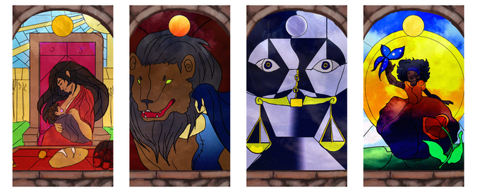 The Empress, Power, Justice and The Sun; Art by Courtney MacKay, © Red Island Games