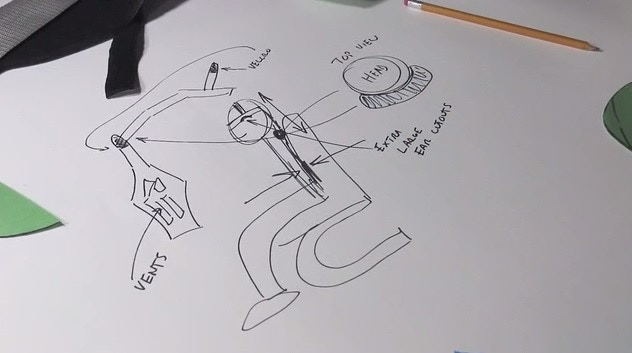 This was quick sketch for our video. It shows all the components including how the neck pillow attaches.