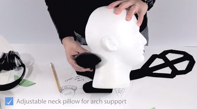 Adjustable neck pillow is adjustable up/down and attaches via velcro. The neck pillow really makes this comfortable. It's like lumbar support for your neck.