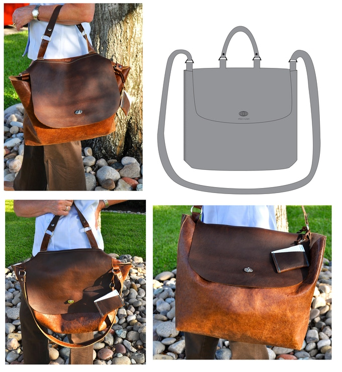 Rachel Carry-all - This messenger tote is super versatile! Comes with long & short straps! (Two tone custom Rachel w/ocean green stitching shown.)