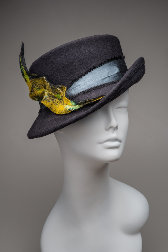Blocked Hat Trimmed with Art Felt