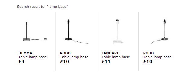 Example: Ikea lamp bases work for the Table version