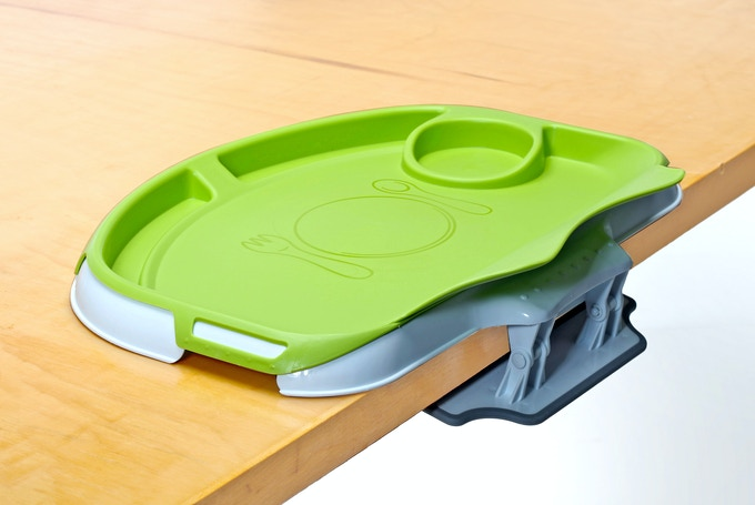 Tidy Table Tray clips securely to tables in seconds.