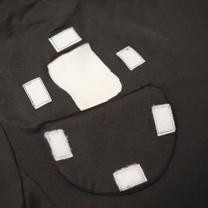 Port Accessibility Patch - Open (** this is a sample shirt; velcro will be black & seams will be finished)