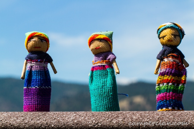 "These miniature muñecas quita-pena - or ""worry dolls"" are available at the $50 pledge level. We bought them from artisans in Guatemala during our yearlong trans-america drive."