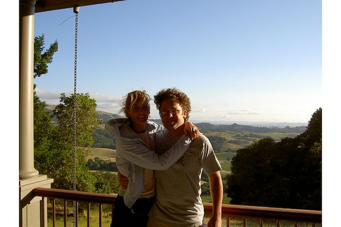 Ali & Eric in 2004, we didn't know then that our very first wine would be made from the Sauvignon Blanc Vineyard on the hillside behind us!
