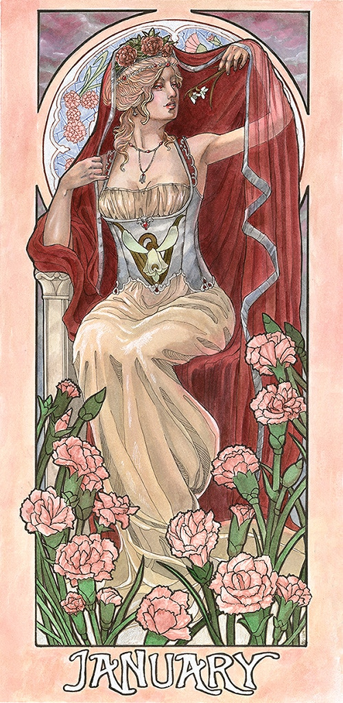 """""""Lady of January"""", 10x20 Inches, Watercolor, Ink, and Silver Liquid Leaf."""