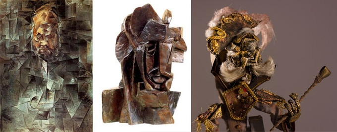 """Portrait of Ambroise Vollard by Pablo Picasso (1910), """"Cubist Head"""" by Emil Filla (1913), and Don Gonzalo"""