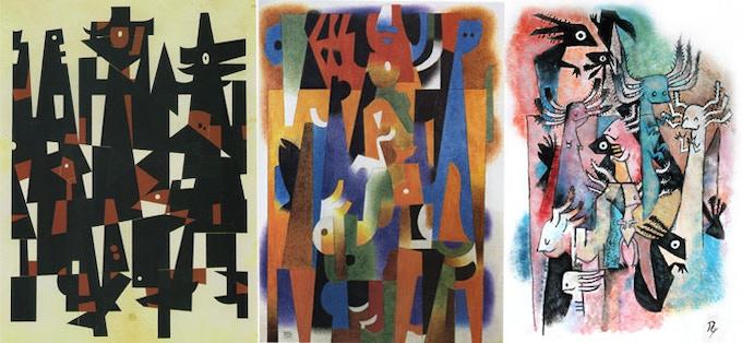 """""""El Ahau"""" by Carlos Merida (1976), """"Submarine Landscape"""" by Carlos Merida (1963), and The Axolotls"""
